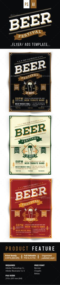 Beer Festival Flyer Vol.2 — PSD Template #drink #typography • Download ➝ https://graphicriver.net/item/beer-festival-flyer-vol2/17893724?ref=pxcr
