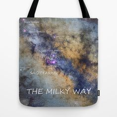 Star map version: The Milky Way and constellations Scorpius, Sagittarius and the star Antares. Tote Bag by Guido Montañés - $22.00