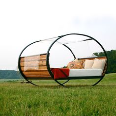 Mood Rocking Bed (Queen) by Shiner International - an orbital piece that creates ambiance and promotes total relaxation within your bedroom. This piece has a carbon steel frame and wooden slats that are organically beautiful. $3400 !!