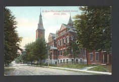 Postcard St. Rose Church and Catholic School, Lima, Ohio Made in Germany
