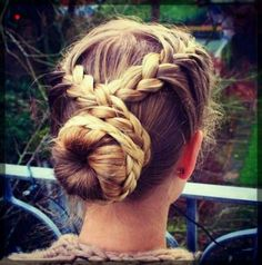 Cross braid to bun hairstyle