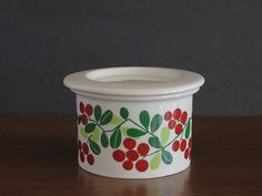 Vintage Arabia Jam Jar with Lid - Pomona Series Lingonberry Puolukka Design - Arabia Finland Jam Jar - Ulla Procope Raija Uosikkinen - 1960s at Eight Mile Vintage on Etsy