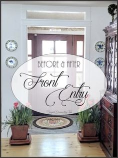 Here is the before and after front entry renovation creating a defined welcoming space. Large Wooden Planters, Doorway Curtain, Door Makeover, Living Room Flooring, Front Entry, Fabric Covered, Decorating Tips, Easy Diy, Simple