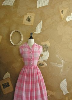 Vintage 1950s Pink Happy Thoughts Dress by VeryVintageStore, $65.00