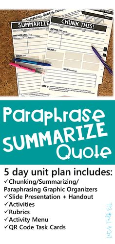 Introduce your secondary ELA students to paraphrasing, summarizing and direct quoting with this unit plan that includes graphic organizers, QR code task cards, exercises, handouts and lecture slides.