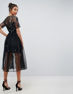 ASOS Embellished Smock Midi Dress – Black - Page Tutorial and Ideas Latest Fashion Clothes, Look Fashion, Fashion Dresses, Woman Dresses, Fashion Online, Black Stylish Outfits, Dance Dresses, Prom Dresses, Elegant Homecoming Dresses