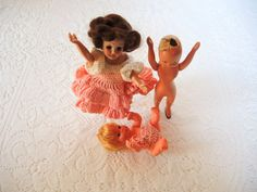 Vintage Doll Lot with Pink Crochet Clothes Dolls by injoytreasures, $24.00