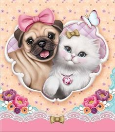 Cartoon cat and dog diamond painting cross stitch all diamond embroidery European home decoration square drill animal Cute Cartoon Animals, Cartoon Pics, Cute Animals, Dog Pictures, Cute Pictures, Animals And Pets, Baby Animals, Cute Images, Cute Illustration