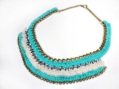 Crochet chain necklace in turquoise and cream with rhinestone