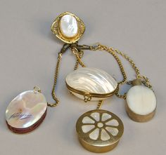 Antique Victorian 5 Piece Chatelaine, Mother-of-Pearl, c1800s - VCA #198. http://www.vcaauction.com/catalog.php