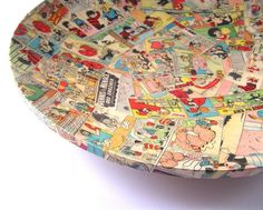 Large comic decoupage plate by Bombus on Etsy, $230.00..I don't think so!!! Definitely a DIY!