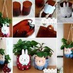 DIY Cute Bunny / Bear Planters Using Plastic Bottles