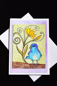 Bird and Flower Greeting Card Birthday by MitchiesGalleria on Etsy