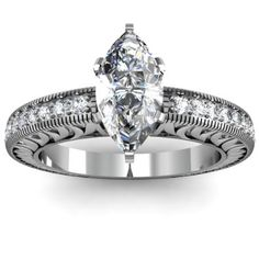 marquis engagement rings | Marquise Cut Round Side Stones Diamond Engagement Ring