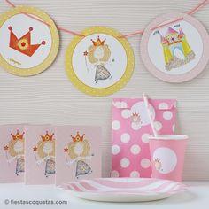 Papelería temática de Princesa de venta en: http://shop.fiestascoquetas.com