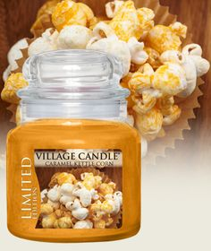 Caramel Kettle Corn Limited Edition-Premium Round-NEW! - Butter, popcorn, sugary caramel Village Candle