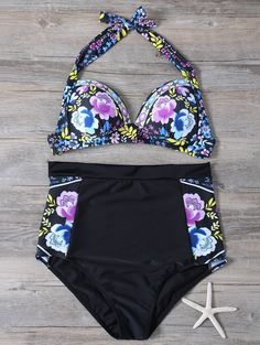 Floral Print High Waisted Vintage Bikini - BLACK L