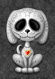 'Green Zombie Sugar Skull Puppy Dog' Art Print by jeff bartels Sugar Skull Tattoos, Sugar Skull Art, Sugar Skulls, Sugar Skull Crafts, Sugar Skull Painting, Totenkopf Tattoo, Red Day, Day Of The Dead Skull, Candy Skulls