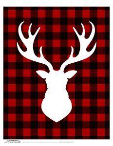 Buffalo Check Plaid Holiday Christmas Deer Head Silhouette Printable 1
