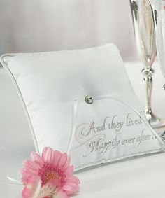 """I love this pillow for the ring that says """"And they lived Happily Ever After"""". Ever since I was a little girl I loved fairytales. Now I'm excited to have one of my own! #weddingstar #contest"""