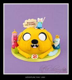 Adventure Time Cake    Jake with finn, princess bubblegum and Ice king :) Awesome Sauce!