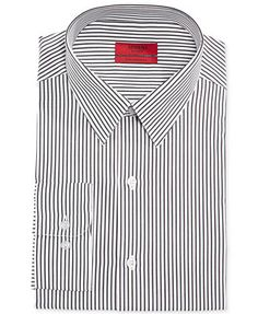 Alfani RED Fitted Black and White Stripe Performance Dress Shirt