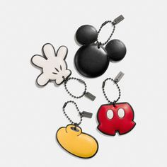 Mickey Mouse is deconstructed in this witty set of limited edition hangtags, part of a special collection in glovetanned leather with illustrations customized by Disney artists especially for Coach. Split up the set to give as gifts, or keep this marvelous character all to yourself.<br><br>Please note that there is a purchase limit of three pieces per customer for this style. In addition, there is a purchase limit of 10 pieces total per customer from the Disney x Coach collection.
