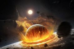 FIERY PLANET CRASHING poster surreal FUTURISTIC serious IMPACT new 24X36
