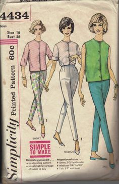 Vintage 1960s Womens Pants and Shirt Pattern, Simplicity 4434 Sewing Pattern, Size 16. $4.95, via Etsy.
