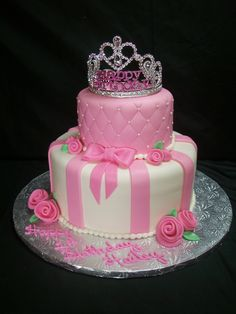 Pink Princess Themed Birthday Cake Ideas for little girl birthday party. Top tier chocolate with chocolate fudge pudding, bottom was vanilla with raspberry.