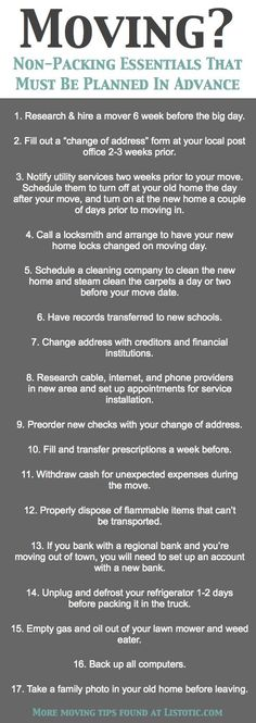 33  Helpful Moving Tips Everyone Should Know! Including this handy checklist of important details not to forget.