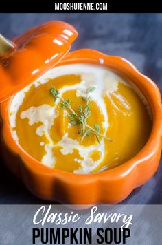 Classic Savory Pumpkin Soup comes together in less than 10 minutes making this soup an easy week night dinner. It's vegan and vegetarian alike! #pumpkin #halloween #fall Best Soup Recipes, Fall Recipes, Vegetarian Recipes, Drink Recipes, Delicious Recipes, Dinner Recipes, Healthy Recipes, Pumpkin Soup, Pumpkin Dessert