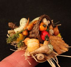 Cornucopia in dollhouse miniature scale, 1:12 by CDHM Artisan Linda Cummings, IGMA