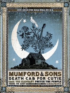 Mumford & Sons tour poster, shows a dove on top of a tree at night, represents them as pure and a light in the dark.