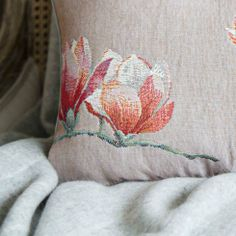 pretty pink iosis french tapestry cushion with magnolia flowers