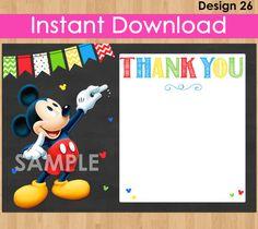 Mickey Mouse Thank You Card Okamžité stažení, Mickey Děkuji karty, DIY tisk Tabule Thank You zápasů Birthday Party Pozvánka