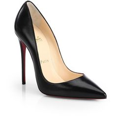 Christian Louboutin So Kate 120 Leather Pumps ($710) ❤ liked on Polyvore featuring shoes, pumps, heels, zapatos, chaussures, black, apparel & accessories, pointy-toe pumps, stiletto pumps and black pumps