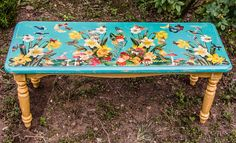 A magical garden bench hand chalk-painted and decoupaged exclusively for a great friend of MTFF by Terri Yellalonis.