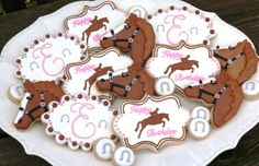 Decorated horse-themed cookies for a little equestrian's birthday...western, horse, saddle, girly, pink, horseshoes www.facebook.com/cookiesbycharity