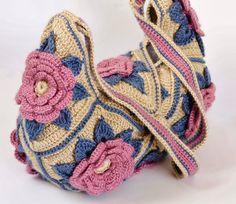 49 Ideas For Crochet Granny Square Flower Pictures Crochet Purse Patterns, Crochet Tote, Crochet Handbags, Crochet Purses, Love Crochet, Knit Crochet, Bag Patterns, Crochet Flower, Granny Square Häkelanleitung