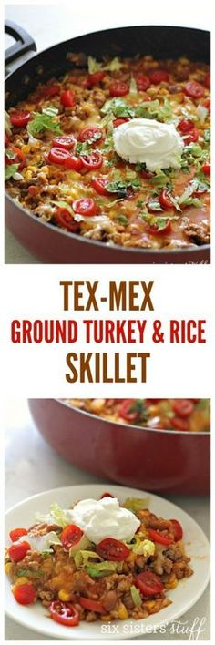 Tex-Mex Ground Turkey and Rice Skillet recipe from @SixSistersStuff | Simple healthy dinner with little clean up!