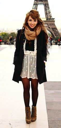 white dress, long black coat, transparent tights, booties, infinity scarf