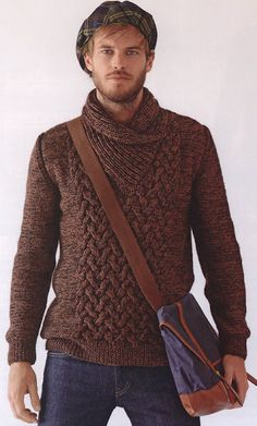 #732 Men's Shawl Collar Sweater, Fall/Winter 13-14 (Bergere de France French knitting/crochet). Made in BDF Angel and Berlaine.