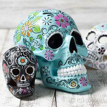 Teal Day of the Dead Skull Sugar Skull Painting, Sugar Skull Art, Sugar Skulls, Halloween Crafts, Halloween Decorations, Happy Halloween, 3d Art Projects, Skull Crafts, Desk Gifts