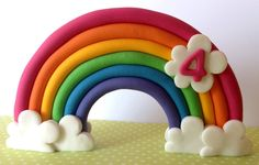 Edible Rainbow Cake Toppers 3D First Birthday Cake Decorations | eBay