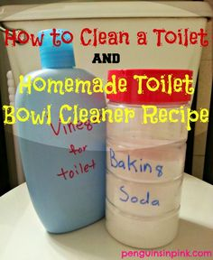 How to Clean a Toilet and Homemade Toilet Bowl Cleaner Recipe. My process for cleaning the toilet and my homemade toilet bowl cleaner recipe.