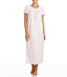 Softly fall asleep in this long Miss Elaine gown. The scoop neckline, short sleeves, and gentle gathers in the front and back make this design perfectly cozy. Machine washable sleepwear with pretty floral embroidery at the neck and nylon knit. http://www.dillards.com/product/Miss-Elaine-Tricot-ShortSleeve-Long-Gown_301_-1_301_502800935?df=03080444_zi_coral&categoryId=-10005&scrollTop=0