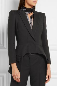 Black wool and silk-blend crepe Concealed snap fastenings through front 73% wool, 27% silk; lining: 100% cupro Dry clean Made in Italy