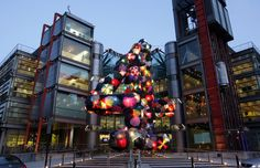 Clever use of discarded umbrella for the art installation, 'Shelter', created by Stephanie Imbeau at The Channel 4 Building in London, England (Photo by Oli Scarff)