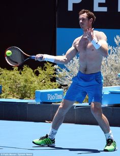 Working up a sweat: Going shirtless in just his cobalt shorts, the tennis player worked up sweat patches